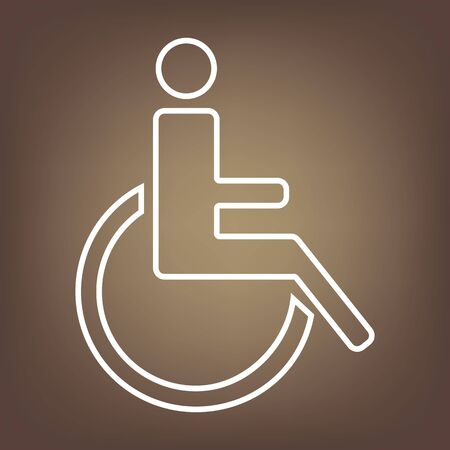 medicine wheel: Disabled line icon on brown background. Vector