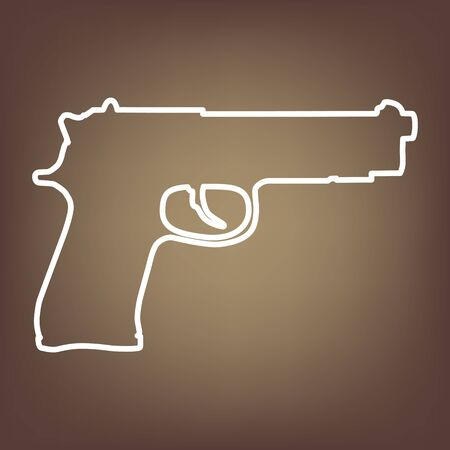 dangerous weapons: Gun line icon on brown background. Vector