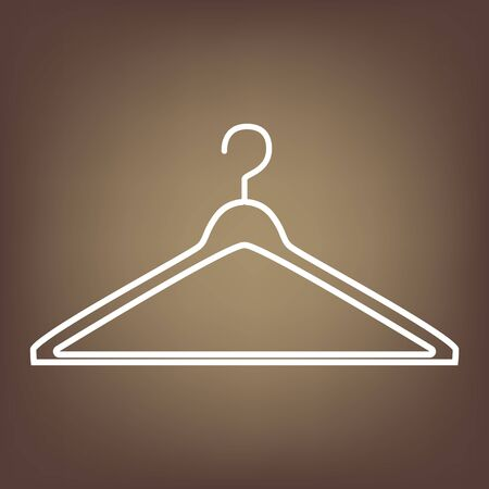 Hanger line icon on brown background. Vector