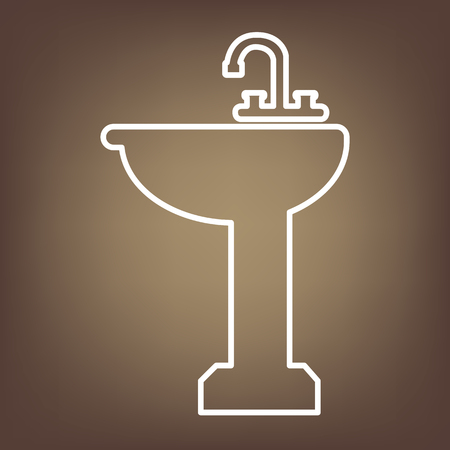 necessity: Bathroom sink line icon on brown background. Vector Illustration