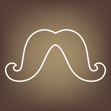 moustaches: Set of moustaches line icon on brown background. Vector