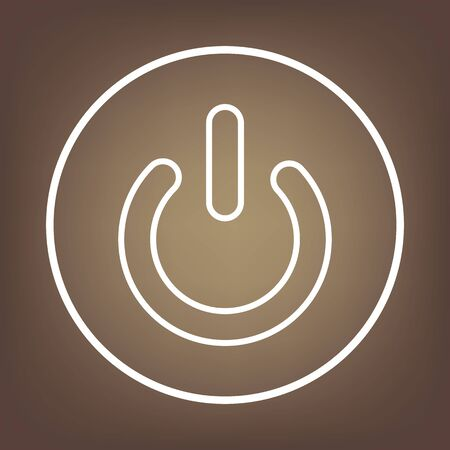switch off: On Off switch line icon on brown background. Vector