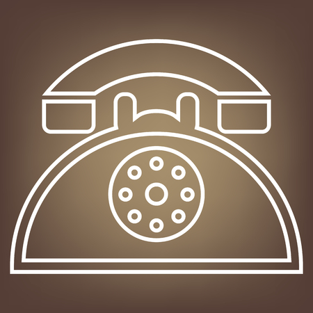 telephone line: Retro telephone line icon on brown background. Vector