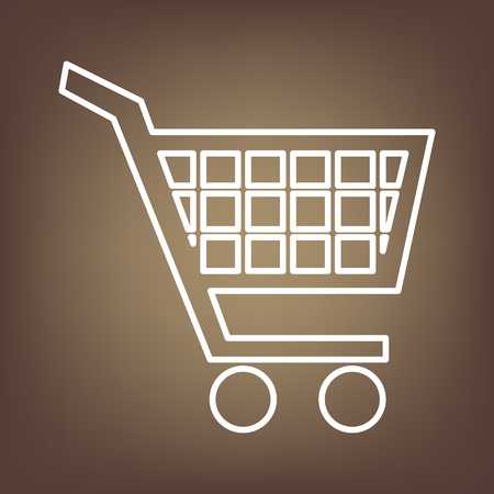 shoppingcart: Shopping cart line icon on brown background. Vector