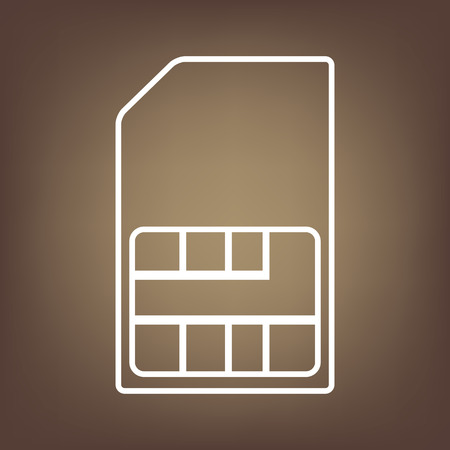 prepaid card: Sim card line icon on brown background. Vector