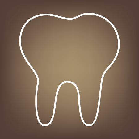 toothcare: Tooth line icon on brown background. Vector