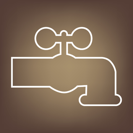 spew: The water faucet line icon on brown background. Vector