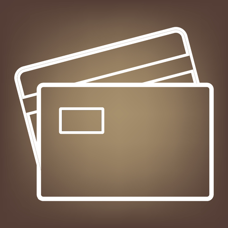 transact: Credit Card line icon on brown background. Vector