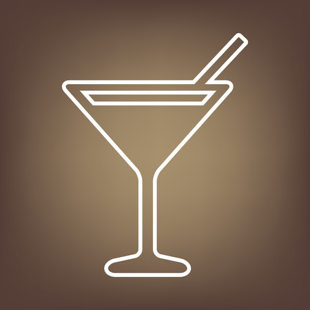 coctail: Coctail line icon on brown background. Vector