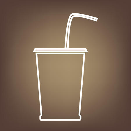 coke: Drink line icon on brown background. Vector