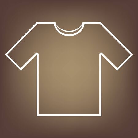 brown shirt: T- shirt line icon on brown background. Vector Illustration