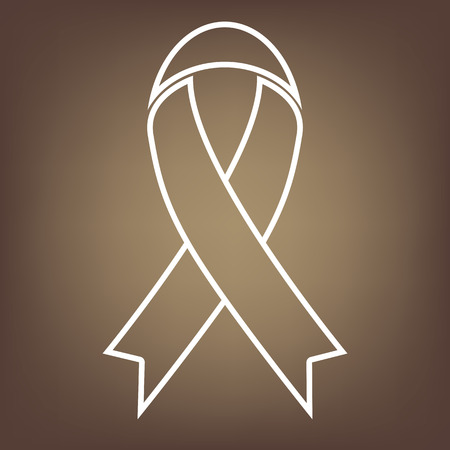 substance abuse awareness: Awareness ribbon line icon on brown background. Vector Illustration