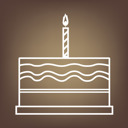 cake background: Birthday cake line icon on brown background. Vector
