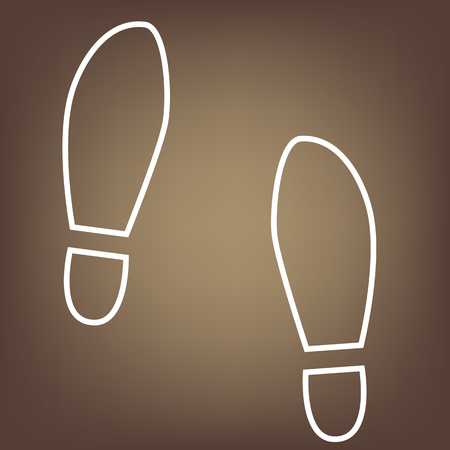 imprints: Imprint soles shoes line icon on brown background. Vector Illustration