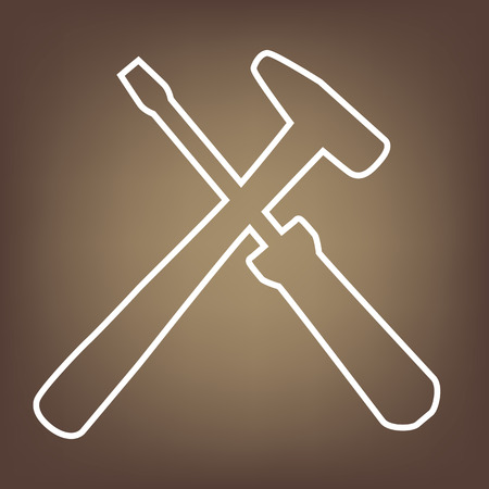 revamp: Tool line icon on brown background. Vector Illustration
