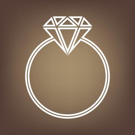 Diamond line icon on brown background. Vector Illustration