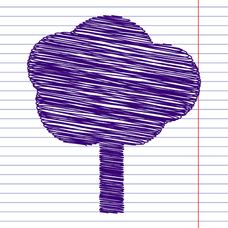 reforestation: Tree icon with pen and school paper effect Illustration