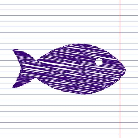school of fish: Fish sign. Vector illustration with pen and school paper effect Illustration