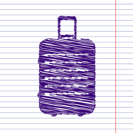 suit case: luggage icon with pen and school paper effect Illustration