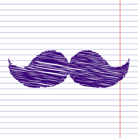 burly: Set of moustaches icon with pen and school paper effect
