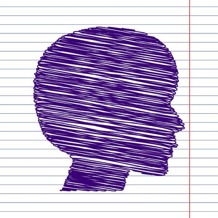pen and paper: Human head silhouette with pen and school paper effect Illustration