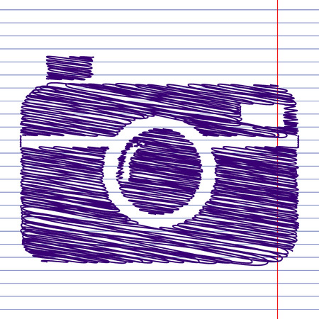 digital photo camera icon with pen and school paper effect