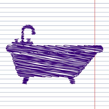 bathtub: Bathtub Icon with pen and school paper effect