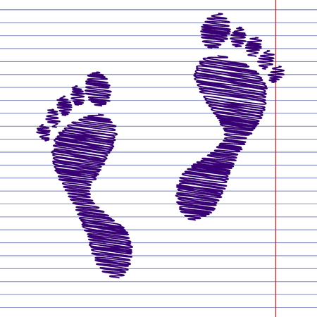 foot prints: foot prints. Vector illustration with pen and school paper effect Illustration