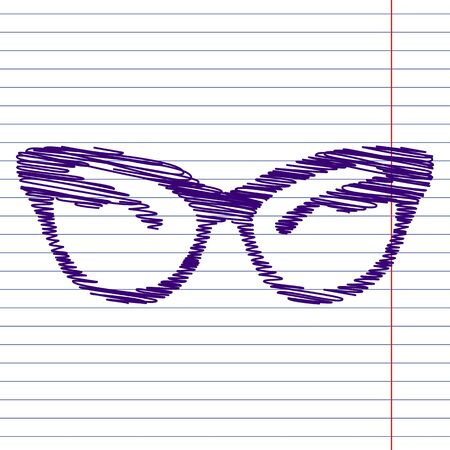 eyewear fashion: Vector illustration of stylish sunglasses with pen effect