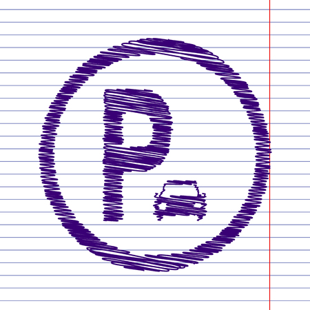 parking is prohibited: Parking sign icon with scrible effect on paper