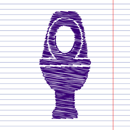 flush toilet: Toilet Icon with scrible effect on paper
