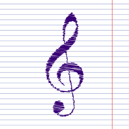 treble g clef: violin clef with pen effect. Music VECTOR