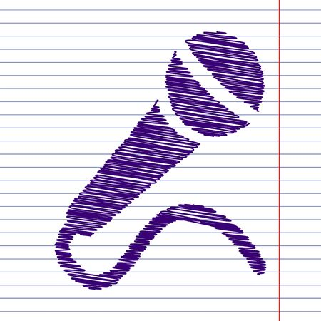 amplification: Microphone Icon with scrible effect on paper