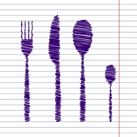 fork and spoon: fork spoon knife with pen and school paper effect