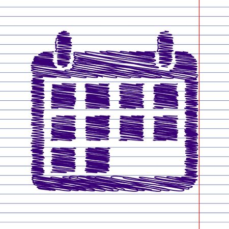 time bound: Calendar Icon with pen and school paper effect