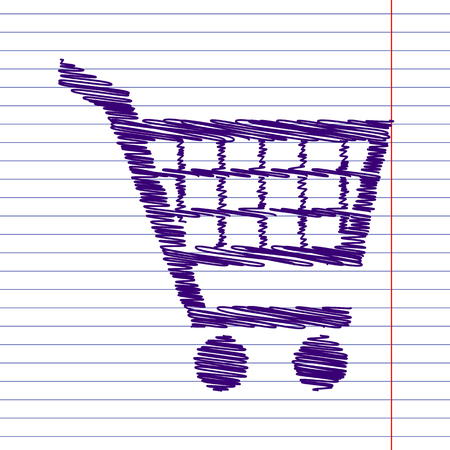 shoppingcart: Shopping cart icons for online purchases- vector  with pen and school paper effect