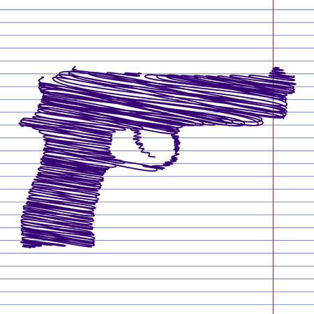 dangerous weapons: Gun isolated with pen and school paper effect