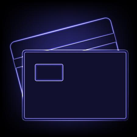 transact: Credit Card Icon. Shiny neon effecr on black background Illustration