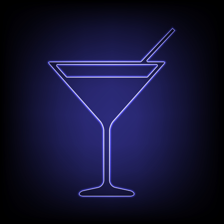 coctail: Coctail icon. Shiny neon effecr on black background