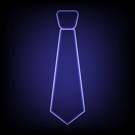 dresscode: Tie icon. Shiny neon effecr on black background