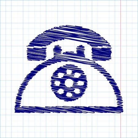 retro telephone: Retro telephone web icon with pen effect