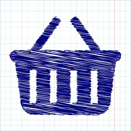 shopping basket: Shopping basket icon with pen effect. Vector illustration Illustration