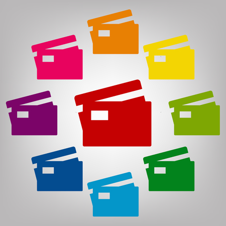 transact: Credit Card Icon.  Icons colorful set vector illustration