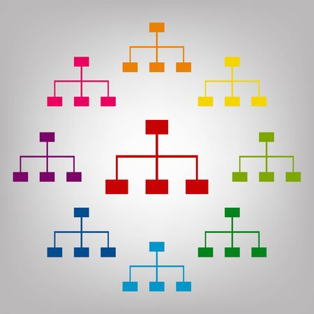 site map: Site map vector sign. Icons colorful set