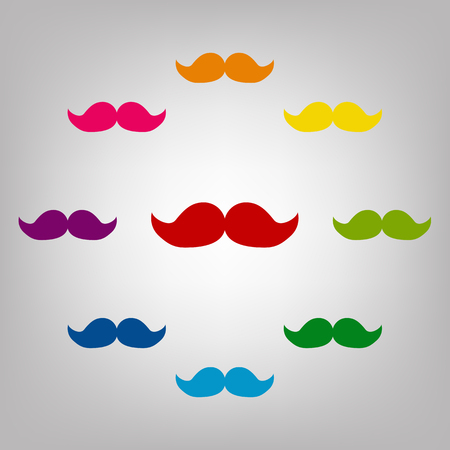moustaches: Moustaches vector sign. Icons colorful set vector illustration