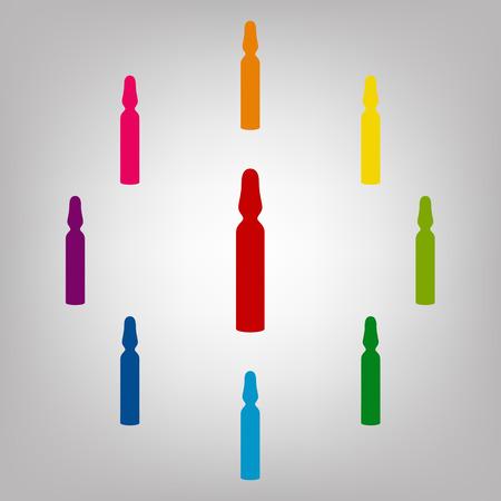 an ampoule: Medical ampoule vector sign. Icons colorful set