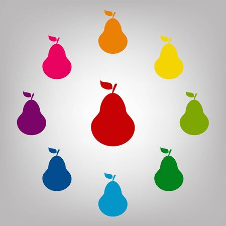 Fruit, pear vector sign. Icons colorful set