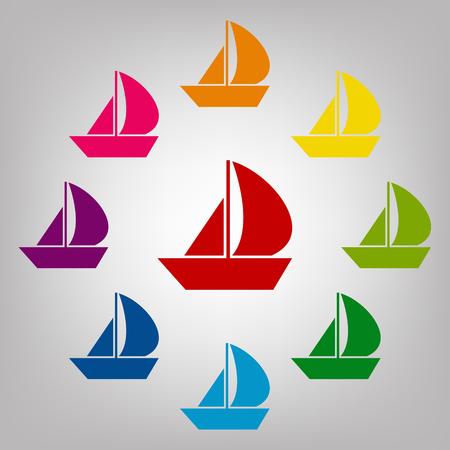 sail boat: Sail Boat vector sign. Icons colorful set Illustration