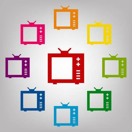 TV vector vector sign. Icons colorful set Иллюстрация