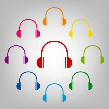 portable audio: Headphones vector sign. Icons colorful set vector illustration
